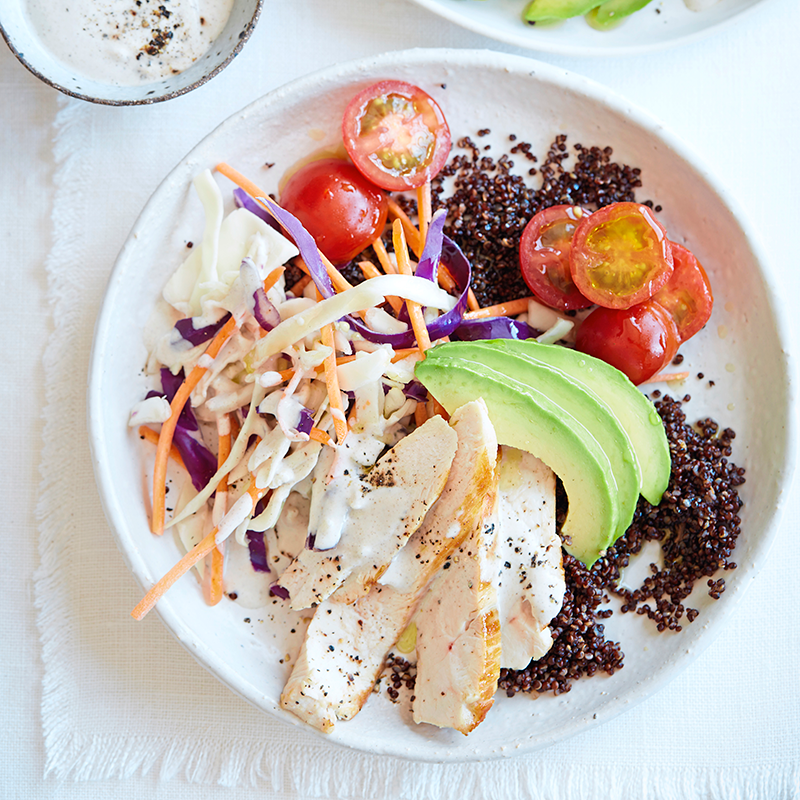 Photo of Quinoa bowl with tahini sauce by WW