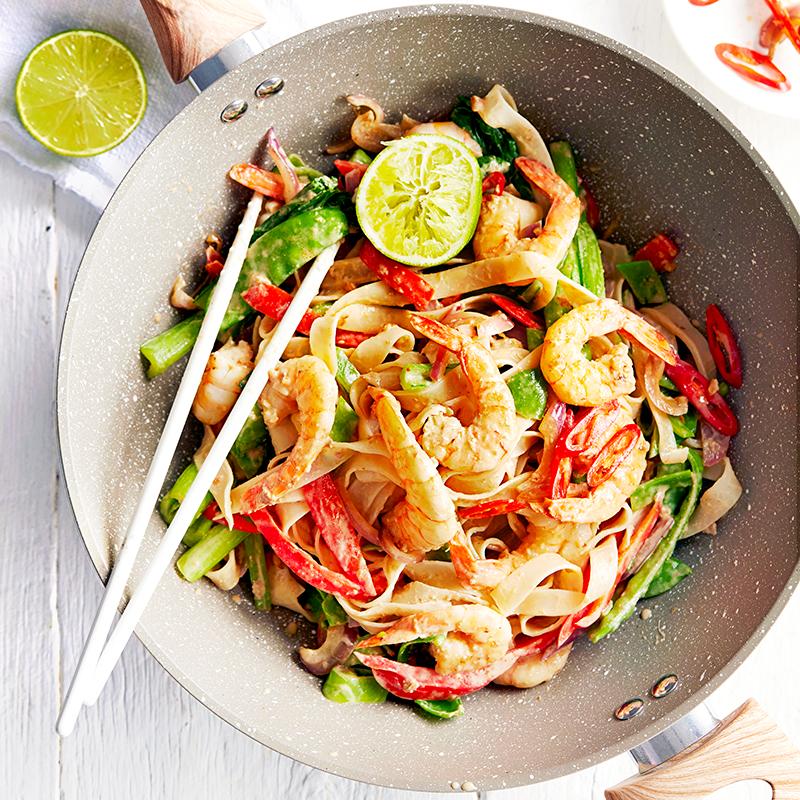 Photo of Satay prawns and rice noodle stir-fry by WW