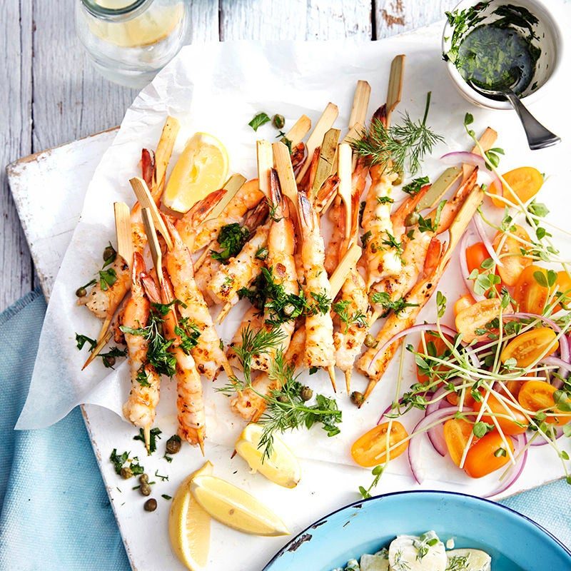 Photo of Barbecued prawns with herb potato salad by WW