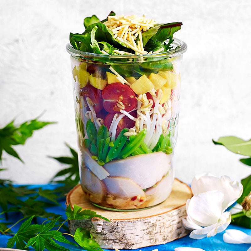 Photo of Smoked chicken, mango and sugar snap peas salad jar by WW