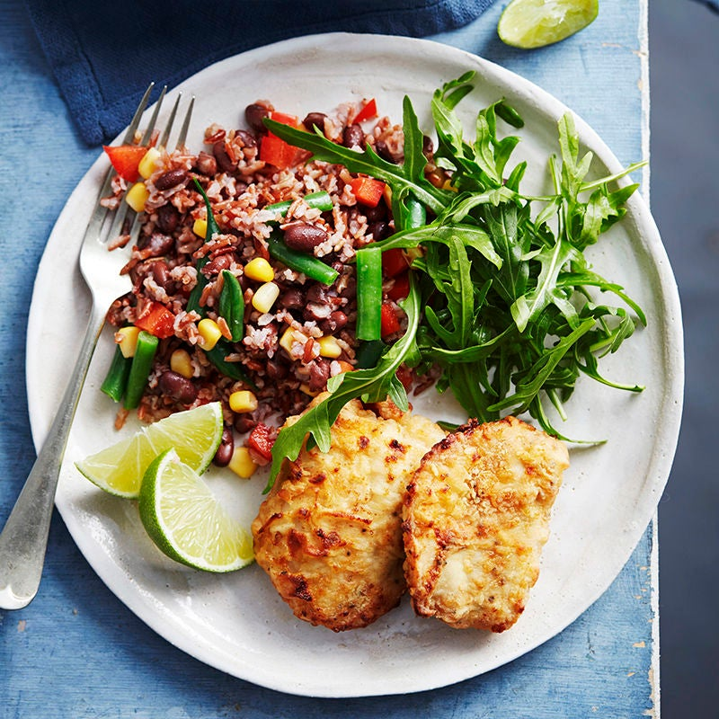 Photo of Southern-style chicken with red rice and black bean salad by WW