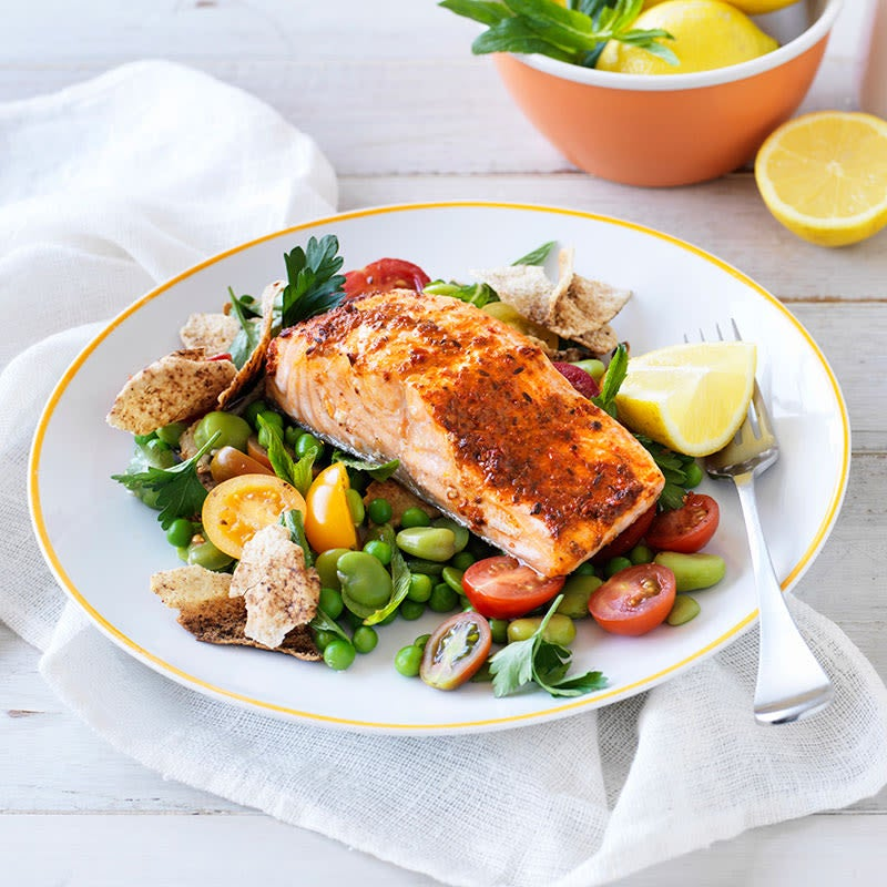 Photo of Harissa salmon with broad beans and pita salad by WW