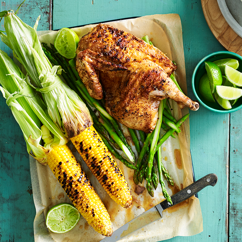 Photo of Smoky barbecued chicken with grilled corn and chipotle yoghurt by WW