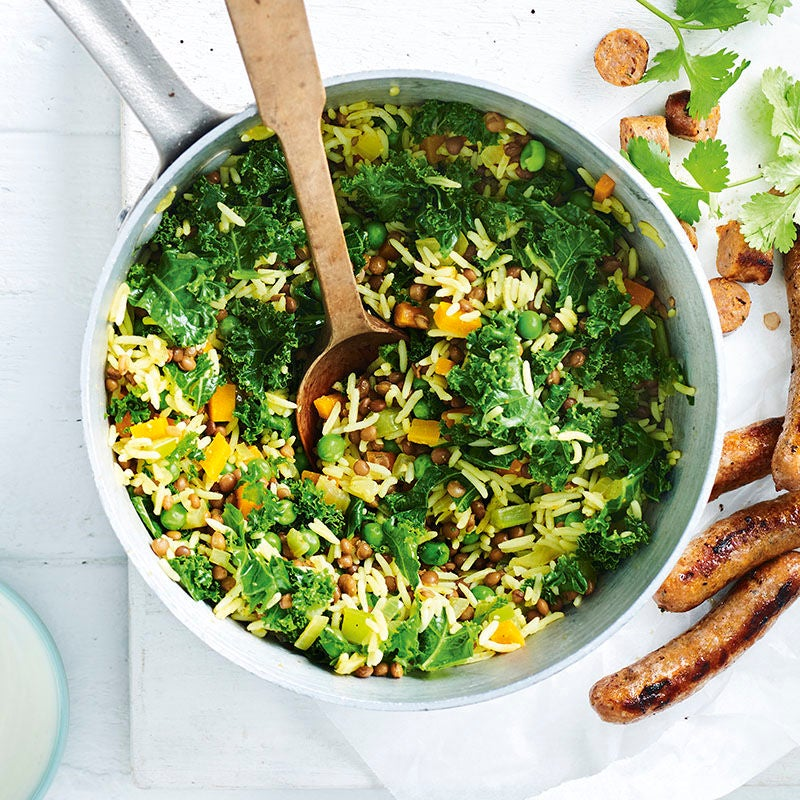 Photo of Quick sausage, lentil, kale and rice pilaf by WW