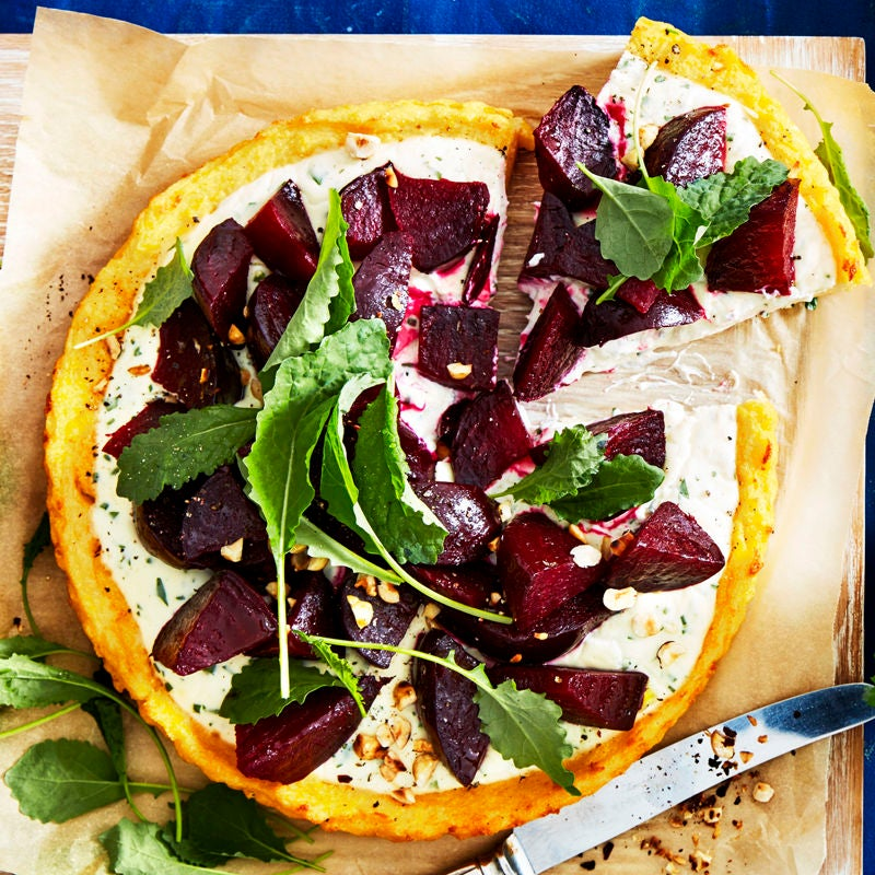 Photo of Polenta tart with beetroot, feta cream and hazelnuts by WW