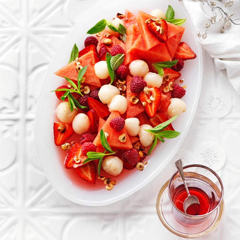 Photo of Raspberry, watermelon and lychee salad with rosewater syrup by WW