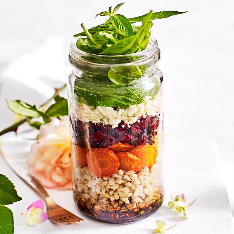 Photo of Barley, roasted vegetables, feta and mint salad jar by WW