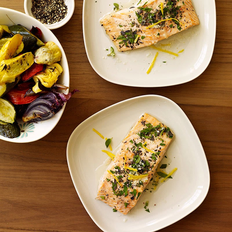 Photo of Lemon and herb roasted salmon by WW