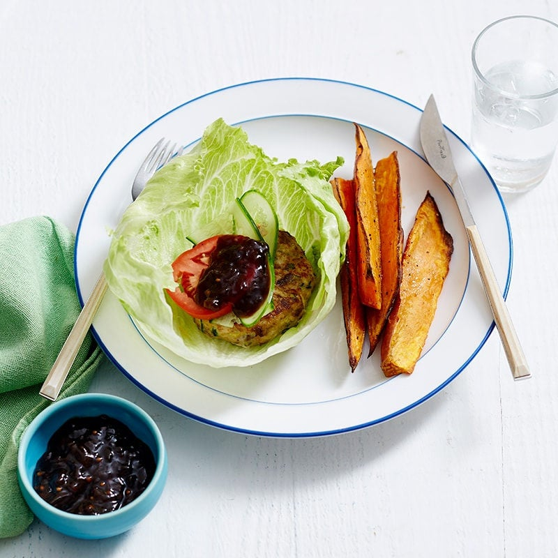 Photo of Bunless turkey burger with sweet potato chips by WW