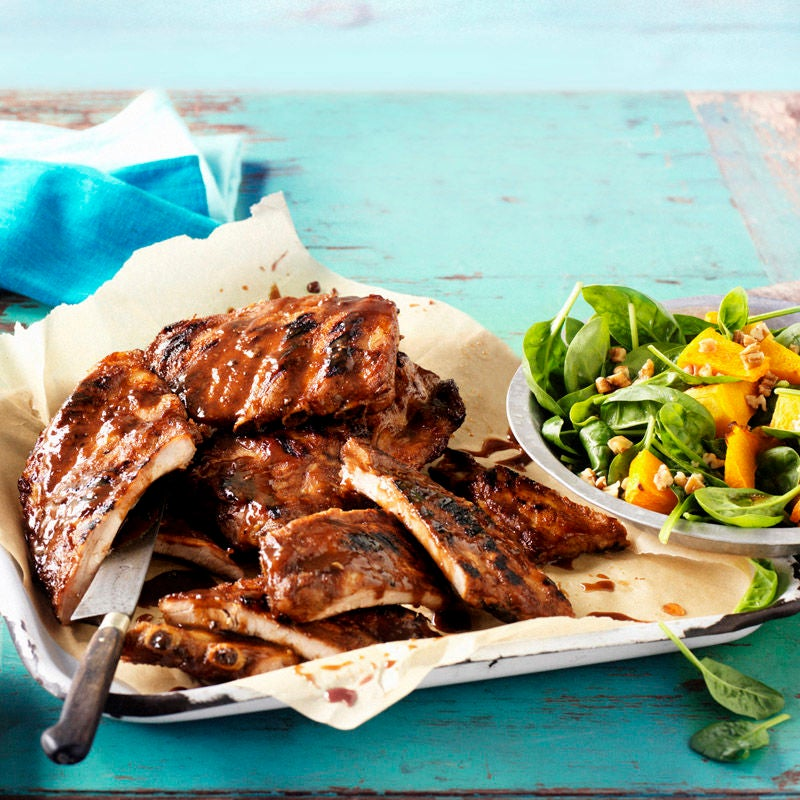 Photo of Pork ribs with spinach and pumpkin salad by WW