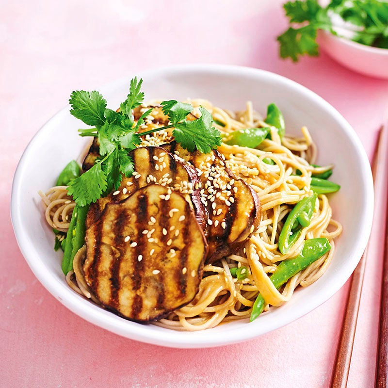 Photo of BBQ miso eggplant with soba noodles by WW