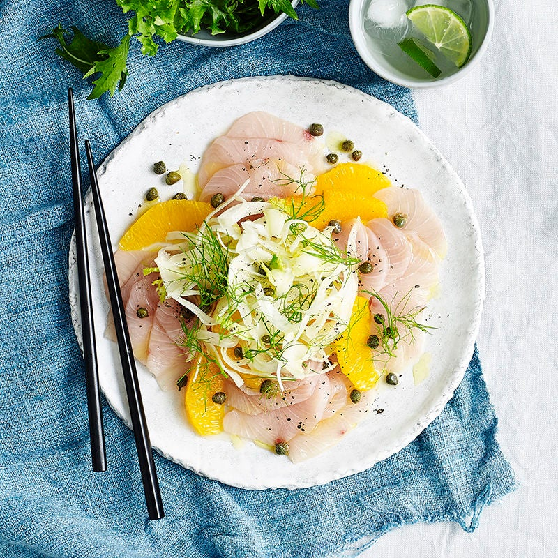 Photo of Kingfish carpaccio with orange, dill and capers by WW