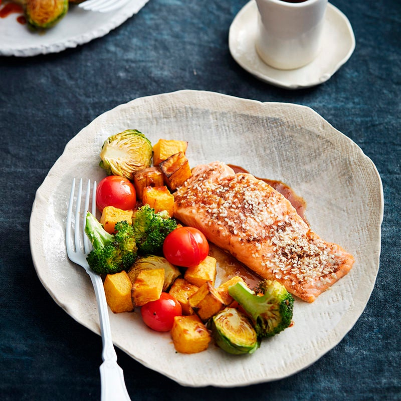 Photo of Roasted salmon with sesame and tamari dressing by WW