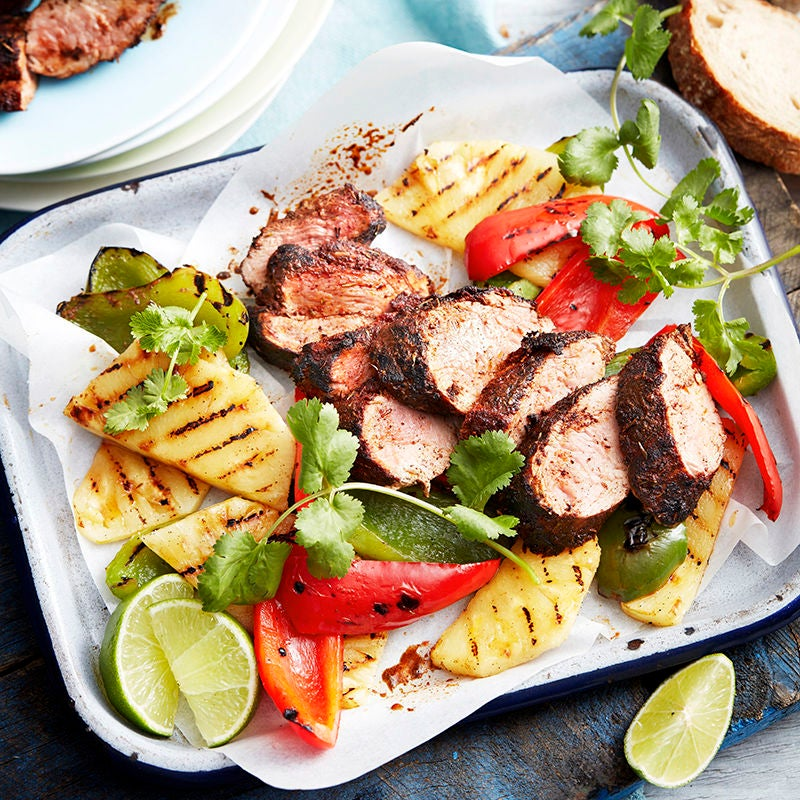 Photo of Jerk-spiced pork with char-grilled pineapple and capsicum by WW
