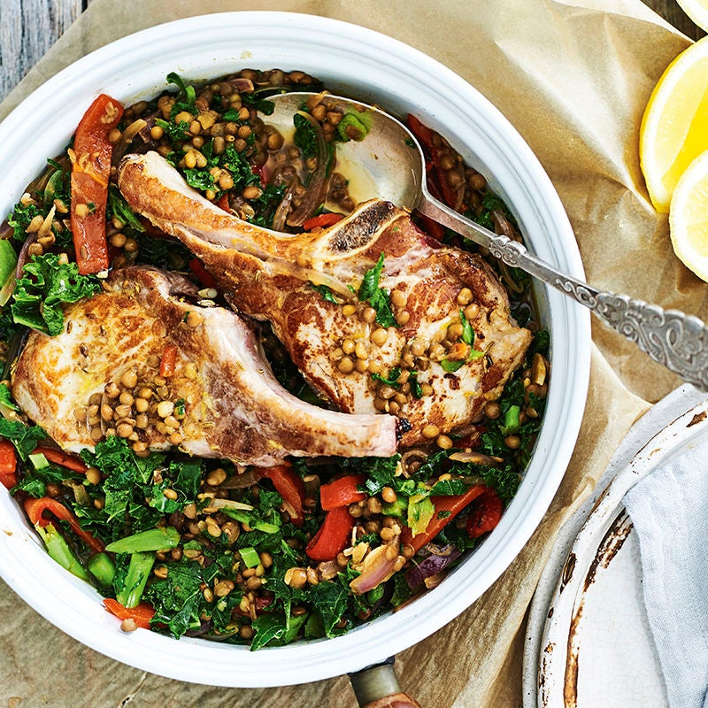 Photo of Fennel-crusted pork cutlets with lentils and kale by WW
