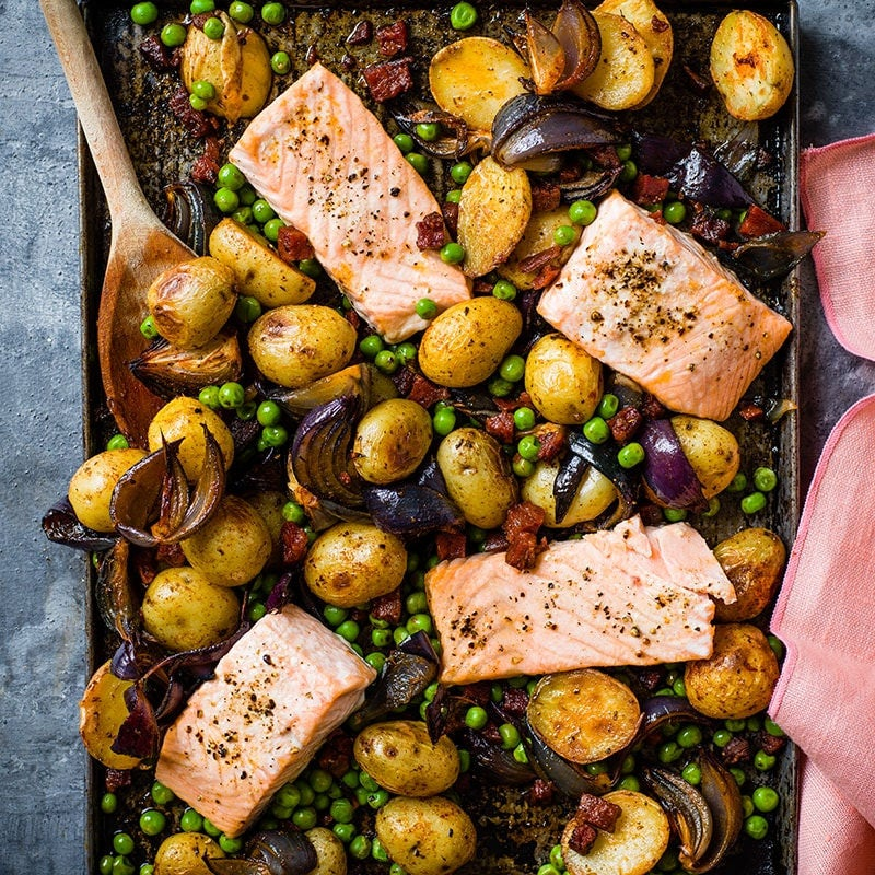 Photo of Roast salmon with peas, potatoes and chorizo by WW