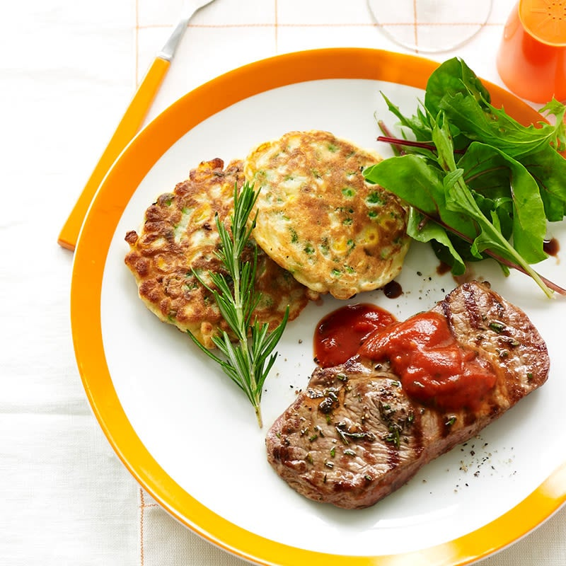 Photo of Rosemary steaks with pea and corn fritters by WW