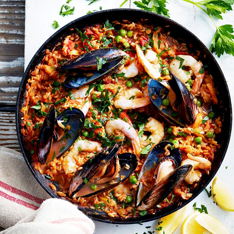 Photo of Brown rice and lentil seafood paella by WW