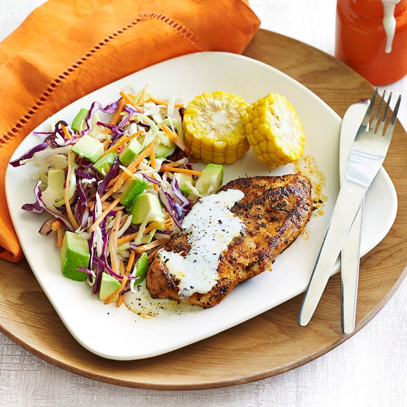 Photo of Cajun chicken with avocado coleslaw and corn by WW