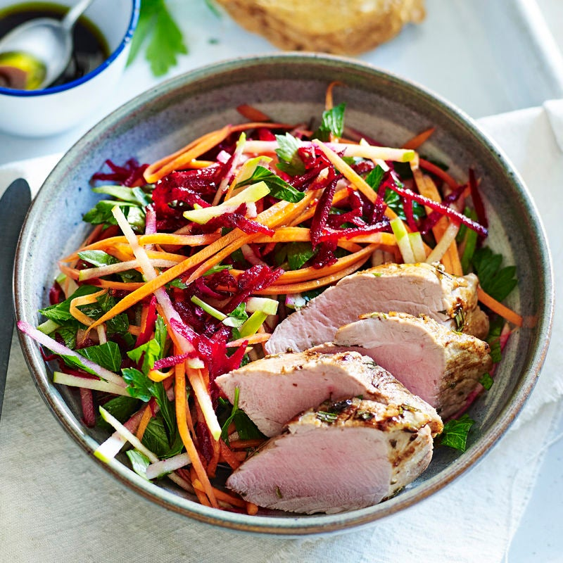 Photo of Mustard and rosemary pork with raw beetroot slaw by WW