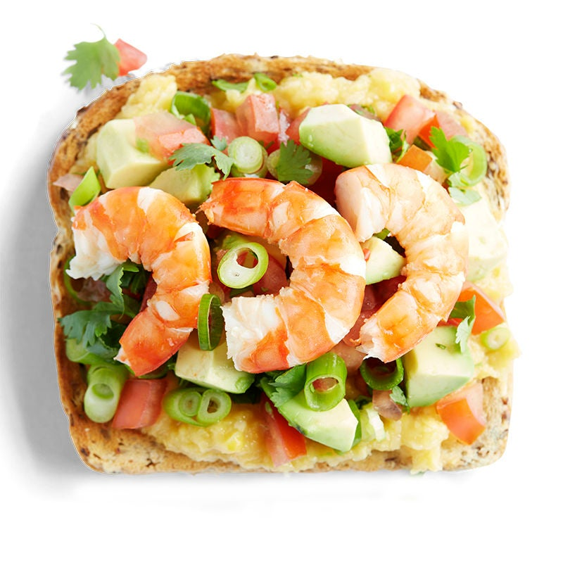 Photo of Prawn and sweet corn with avocado salsa toast topper by WW