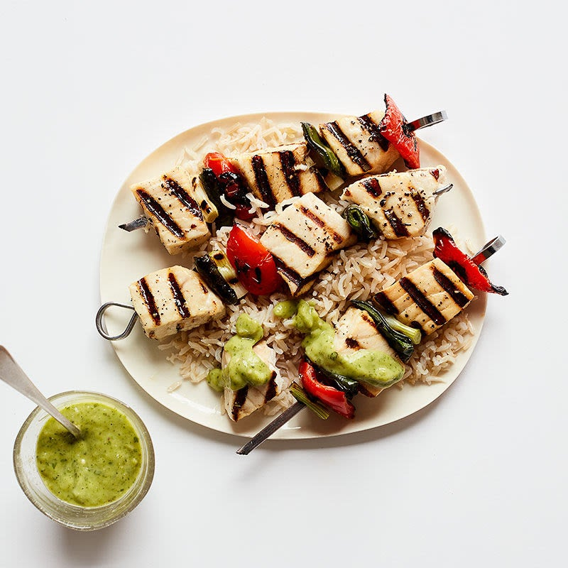 Photo of Fish and vegie skewers with creamy avocado sauce and brown rice by WW