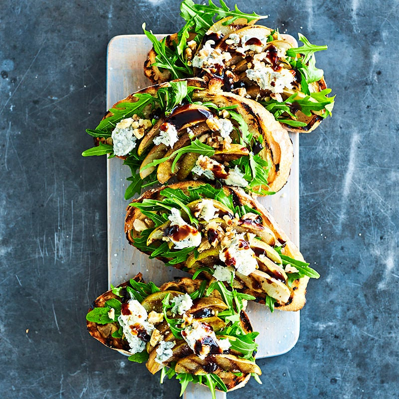 Photo of Grilled pear, gorgonzola and walnut bruschetta by WW