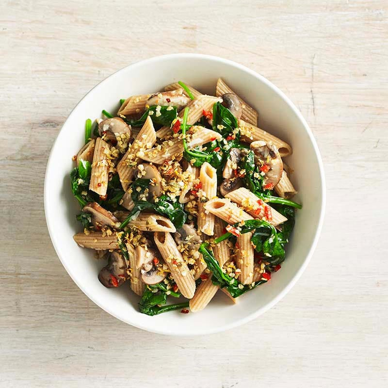 Photo of Mushroom and spinach pasta with chilli crumbs by WW