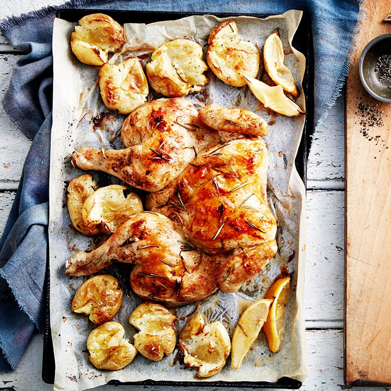Photo of Lemon and rosemary baked maple chicken with crushed potatoes by WW