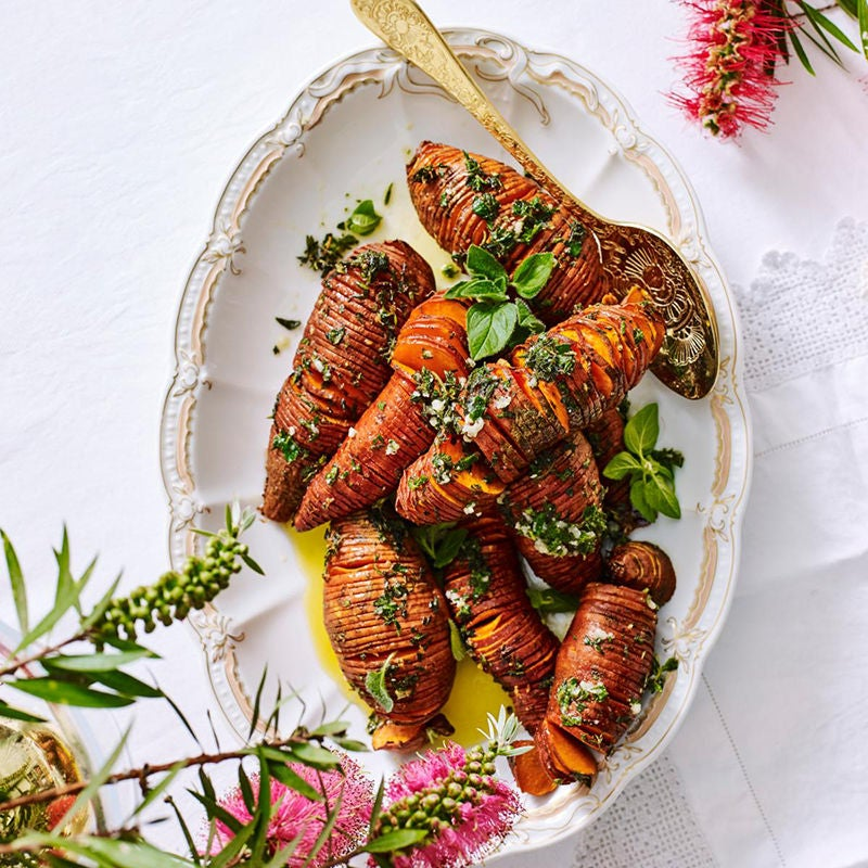 Photo of Hasselback sweet potatoes with garlic and herb spread by WW