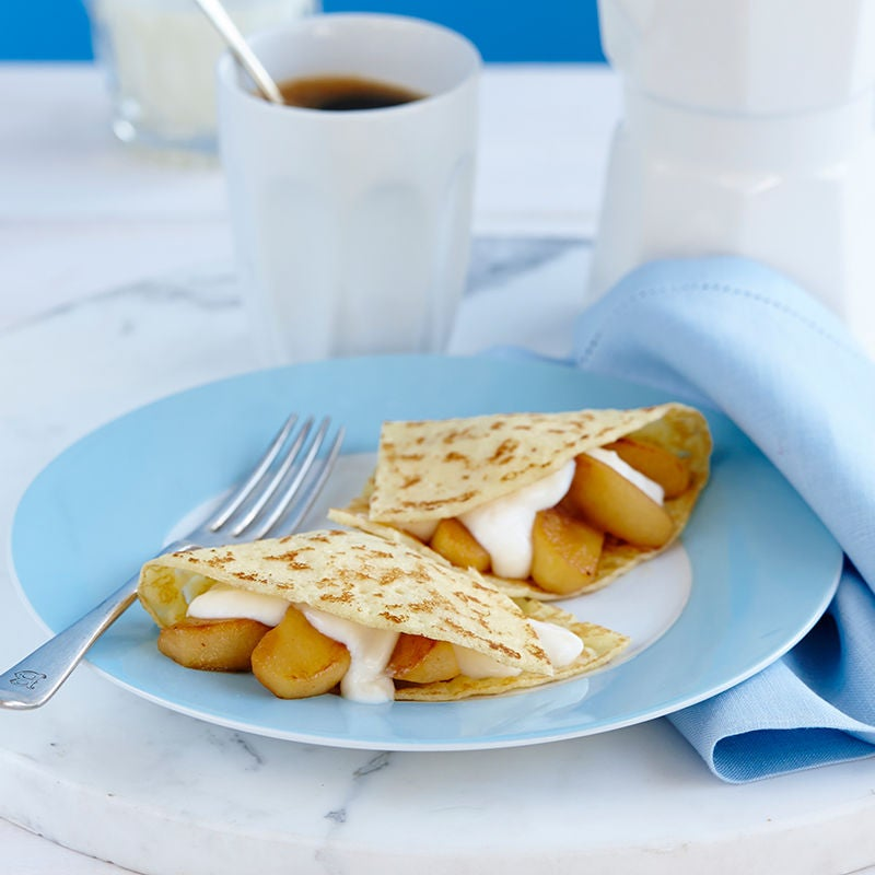 Photo of French crepe with caramelised apple and vanilla yoghurt by WW
