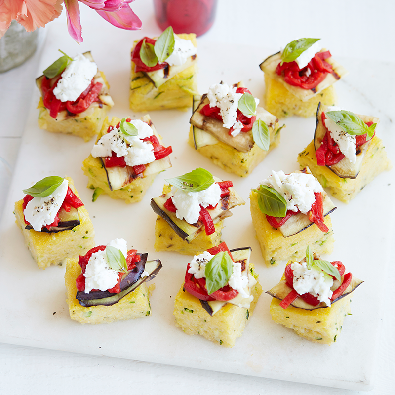 Photo of Polenta squares topped with chargrilled vegetables and goat's cheese by WW