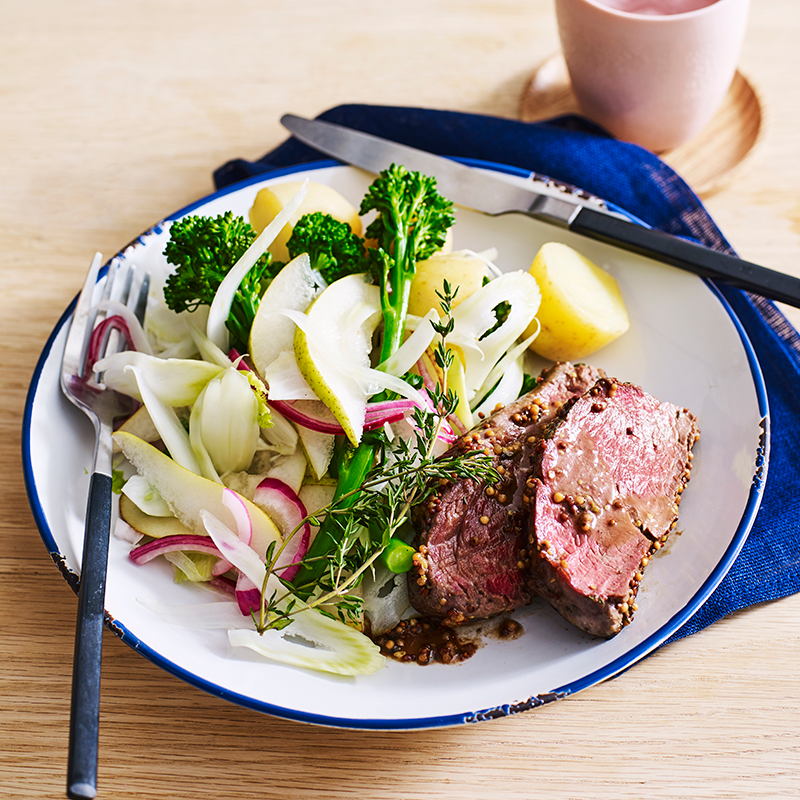 Photo of Mustard beef with broccolini, pear and fennel salad by WW